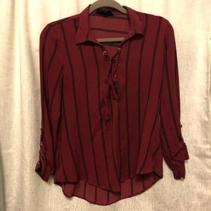 Deep Red Striped Blouse